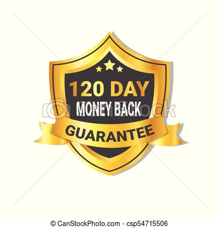 450x470 Golden Shield Money Back In 120 Days Guarantee Label With Ribbon