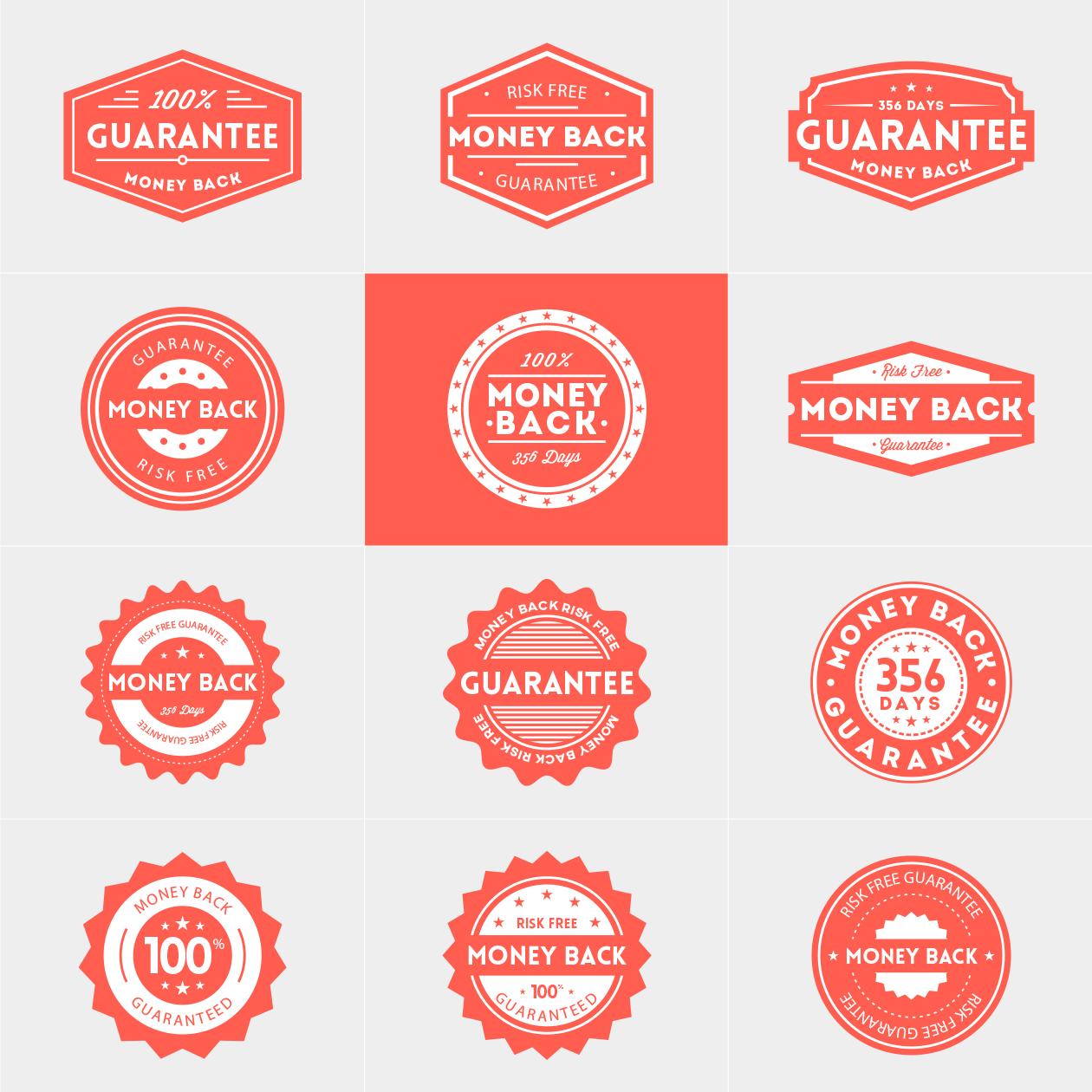 1260x1260 Money Back Guarantee Vector Badges
