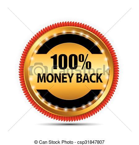 450x470 Vector Money Back Guarantee Gold Sign, Label Eps10 Vector Clipart