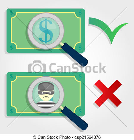 450x470 Right And Wrong Money. Fake Money And Legal Money. Symbols Of A