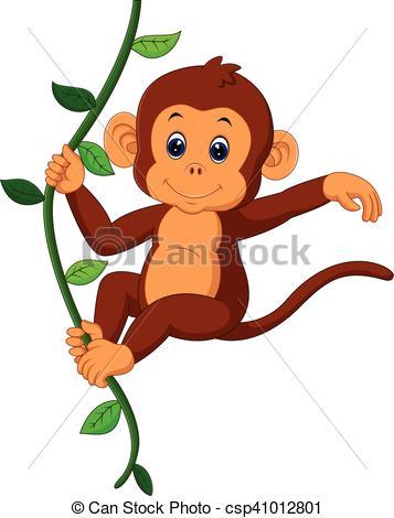 357x470 Cute Monkey. Illustration Of Cute Monkey Cartoon.