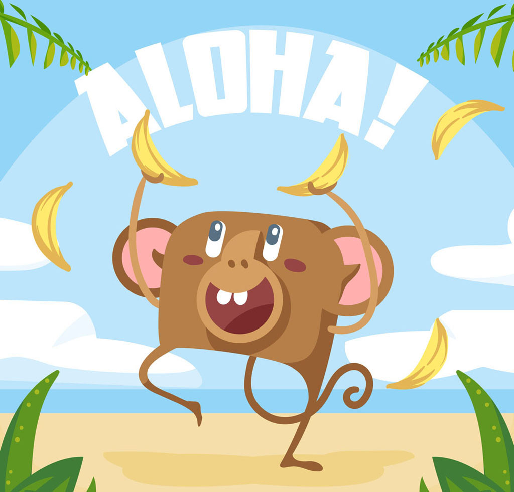 1024x981 Cartoon Hawaiian Banana Monkey Vector Free Download Ai Files