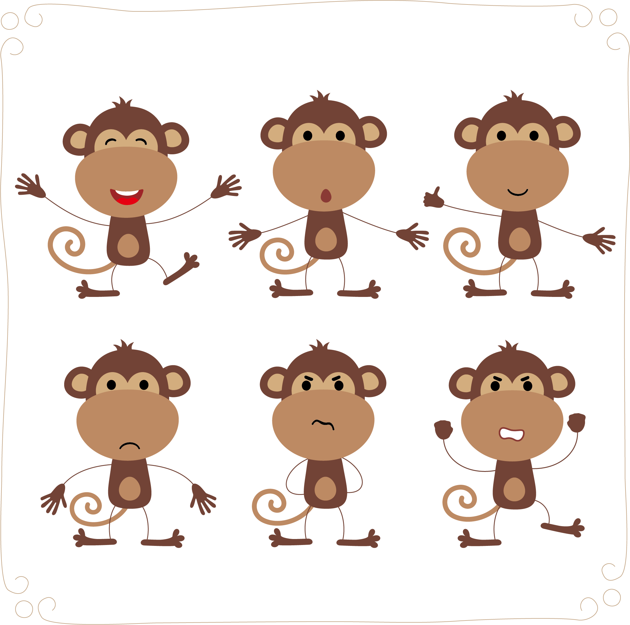 2101x2086 Monkey Cartoon Illustration