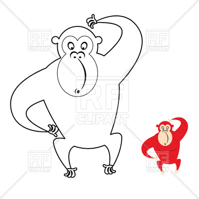 400x400 Page Of Coloring Book With Red Monkey Vector Image Vector