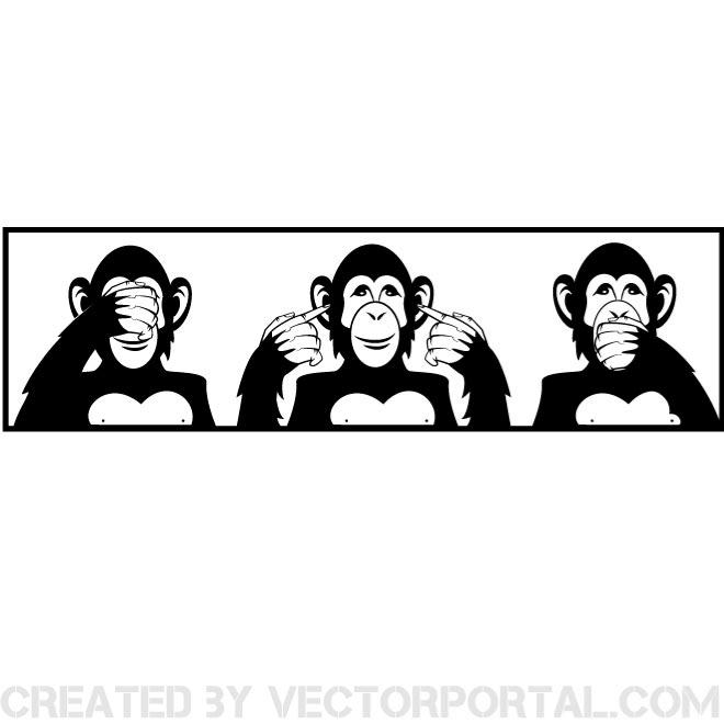 660x660 Three Wise Monkeys Vector Illustration Free Vectors Ui Download