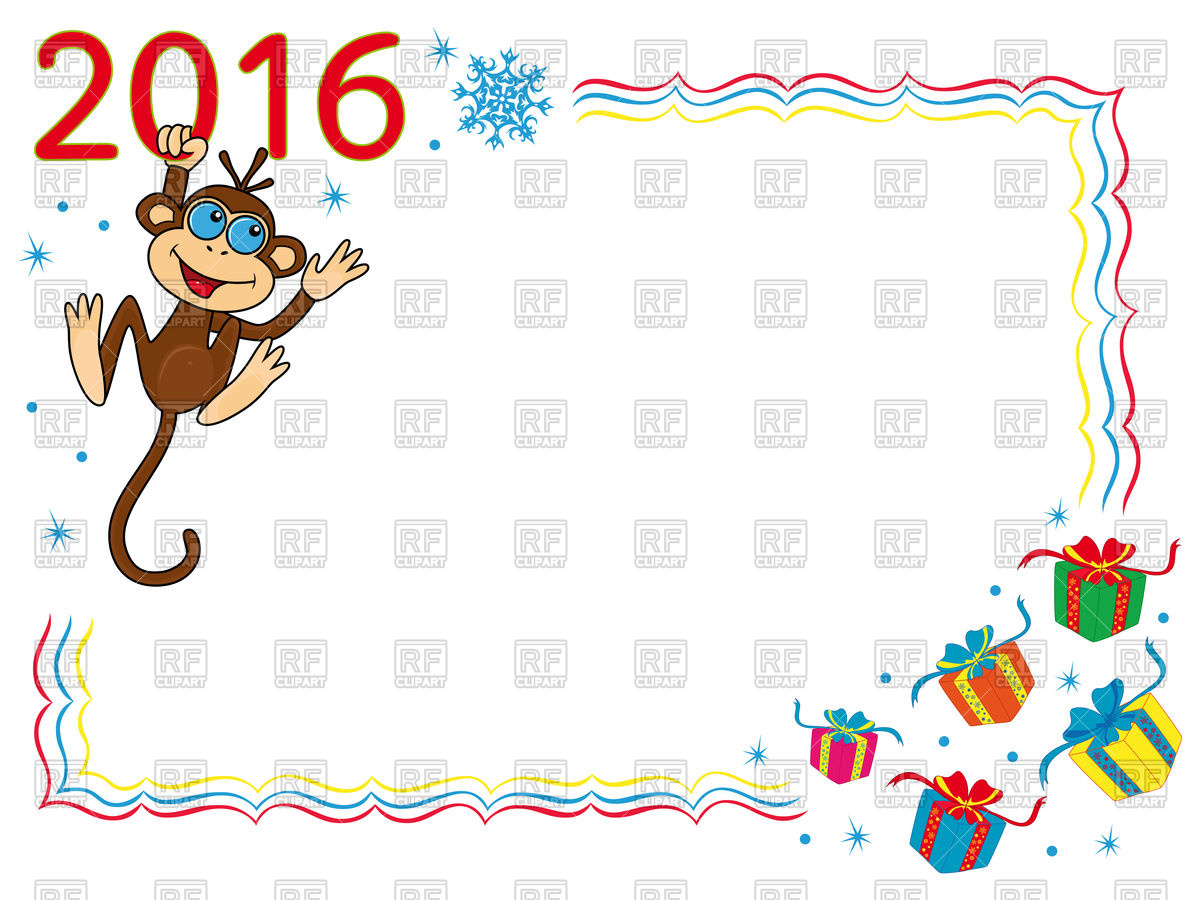 1200x900 Christmas Greeting Card 2016 With Monkey Vector Image Vector