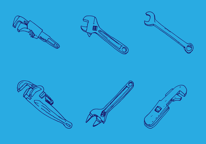 700x490 Monkey Wrench Vector Set