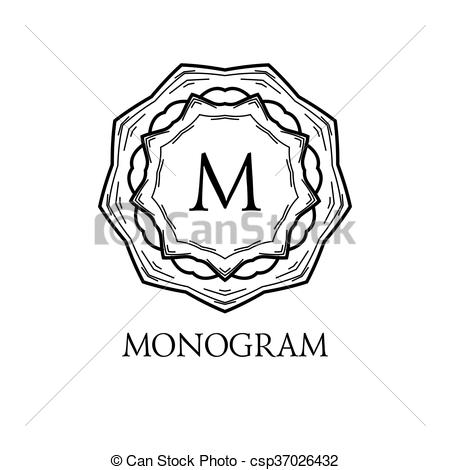 450x470 Monogram Design. Vector Floral Outline Frame Or Border
