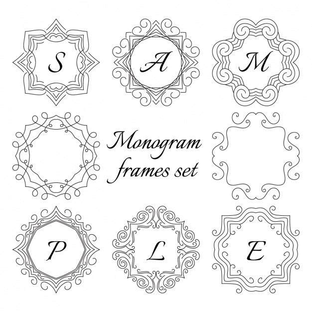 626x626 Monogram Frame Set Vector Free Download