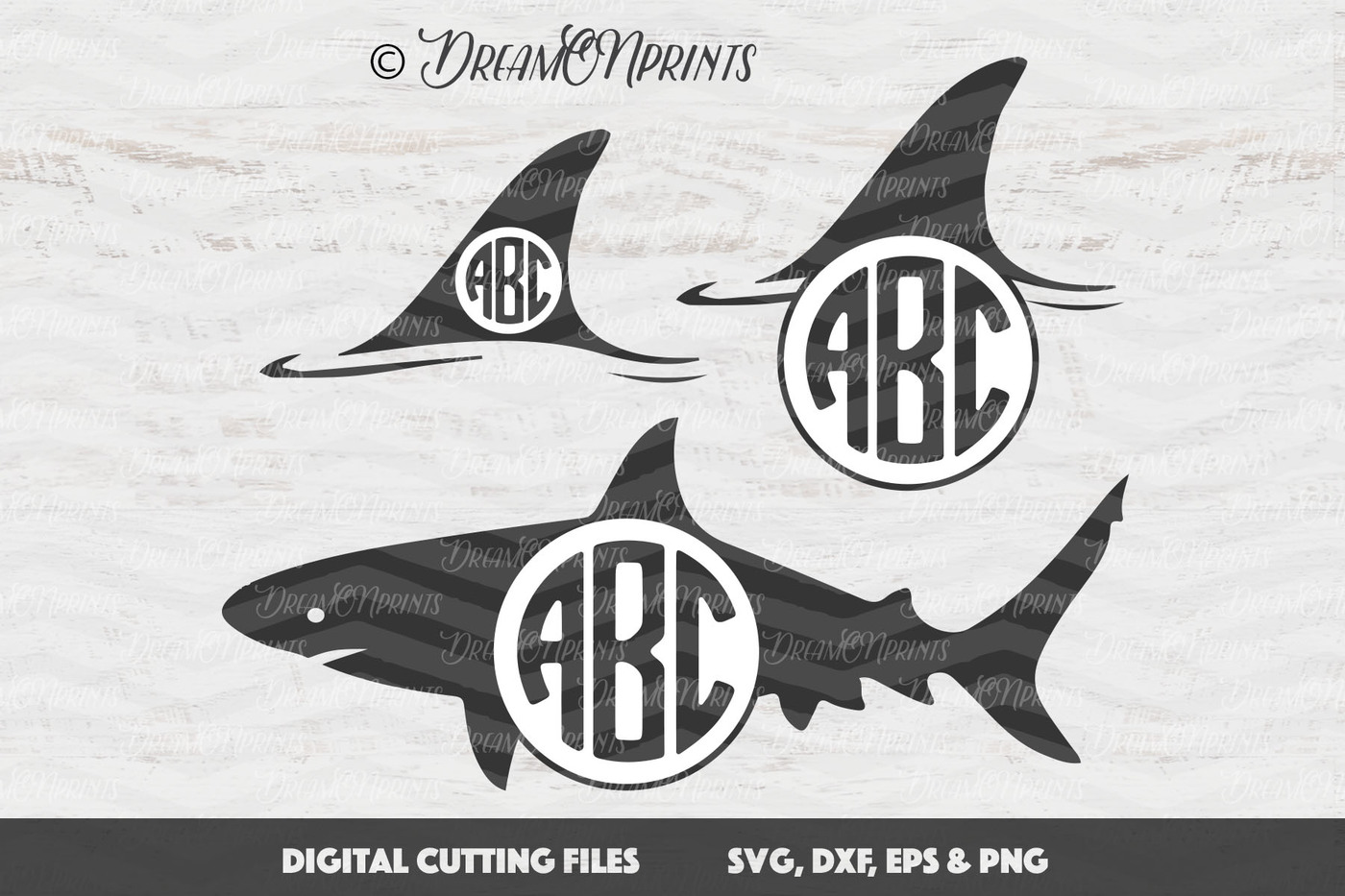 1400x933 Svg Shark Monogram Frame Vector By Dreamonprints