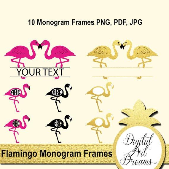 570x570 Flamingo Monogram Frame Vector Gold Pink Monogram Frames Png Etsy