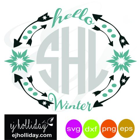 479x480 Hello Winter Monogram Frame Svg Dxf Eps Png Vector Graphic Design