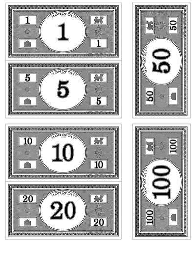 It is a photo of Monster Monopoly Money Printable