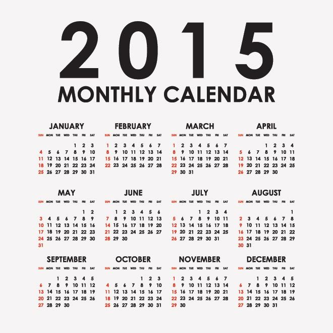 Monthly Calendar Vector At Getdrawings Free For Personal Use