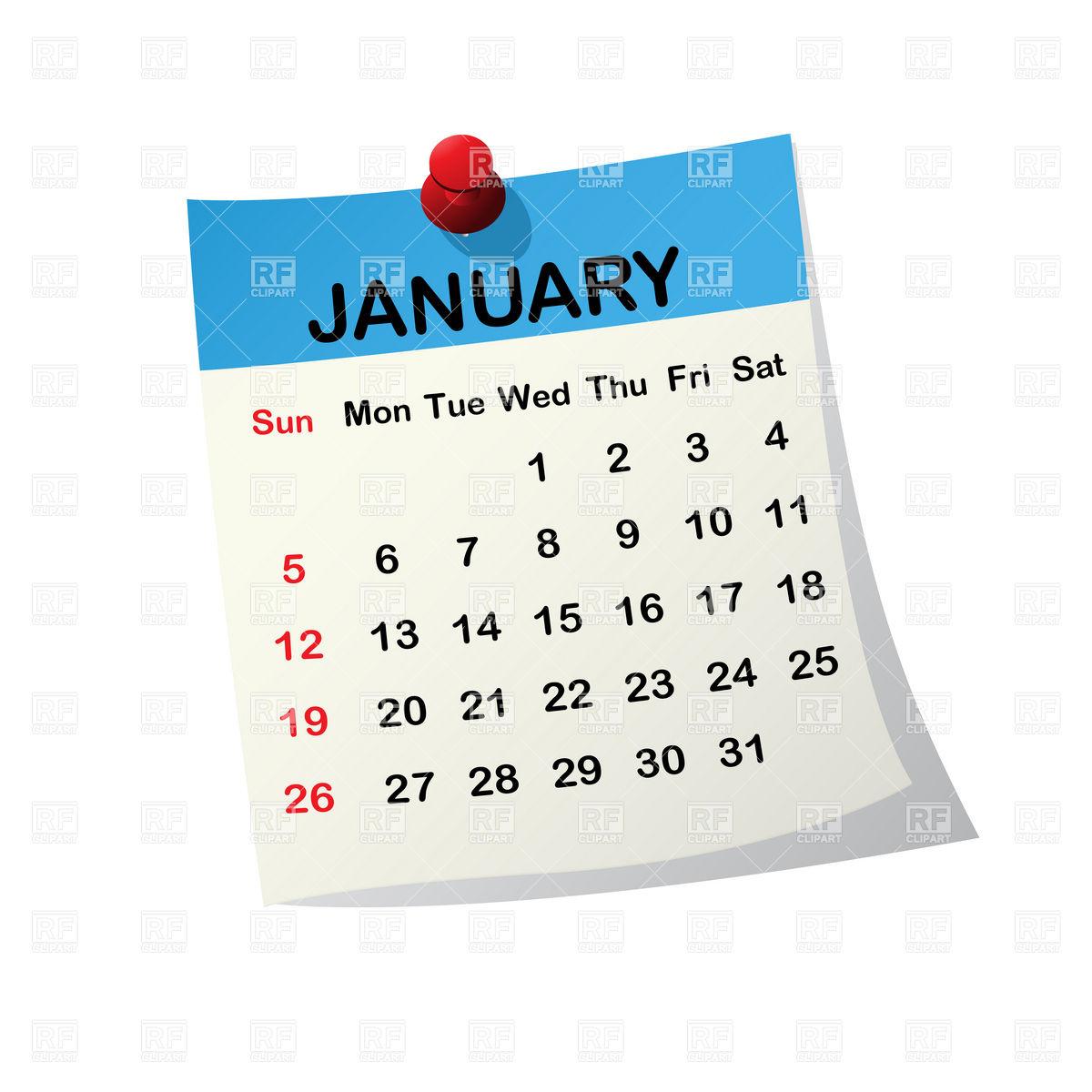 1200x1200 January 2014 Month Calendar Vector Image Vector Artwork Of