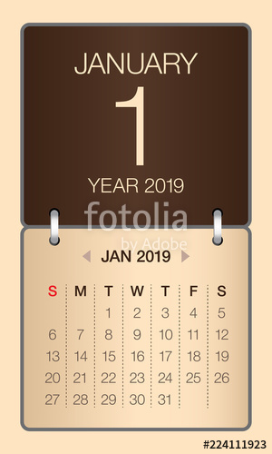 300x500 January 2019 Monthly Calendar Vector Illustration Stock Image And