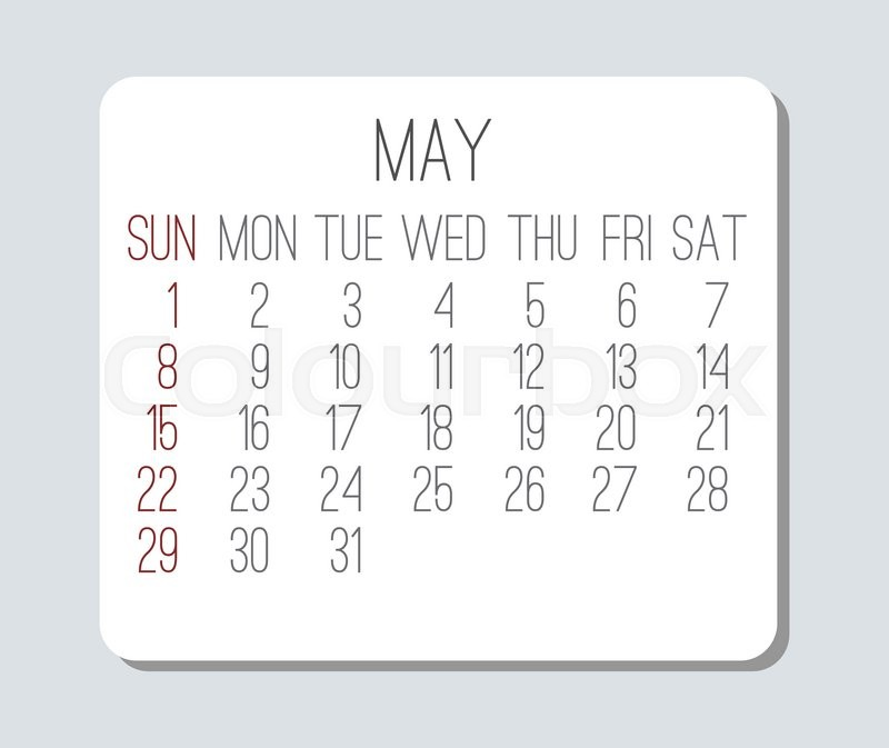 800x673 May 2016 Plain Vector Monthly Calendar. Week Starting From Sunday