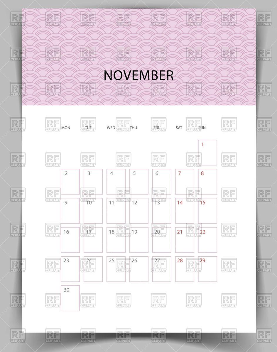 944x1200 Monthly Calendar For November 2015 Vector Image Vector Artwork