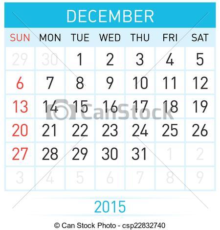 450x470 Monthly Calendar Template For December Of Year Twenty Fifteen.