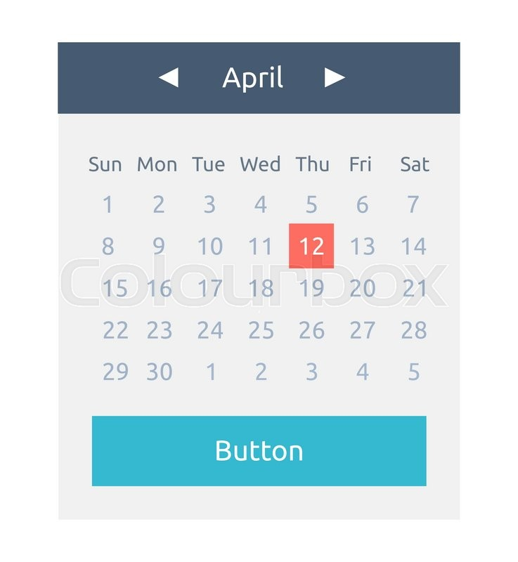 737x800 Website Element Calendar Button. Calendar Icon Page, Monthly Date