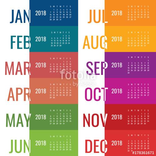 500x500 Year 2018 Calendar Vector Template. Modern 2018 Calendar. Vector