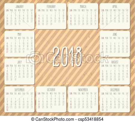450x404 Year 2018 Monthly Calendar. Year 2018 Vector Monthly Hand Drawn