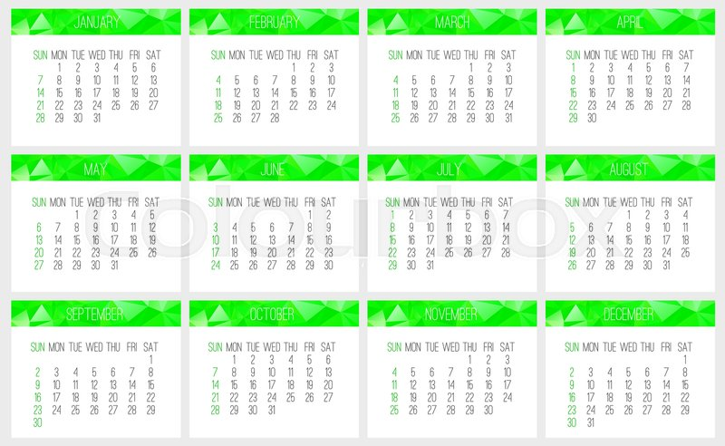 800x492 Year 2018 Vector Monthly Calendar. Week Starting From Sunday