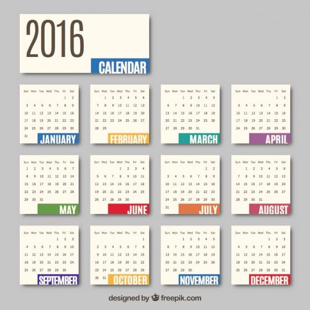 626x626 2016 Monthly Calendar Vector Free Download