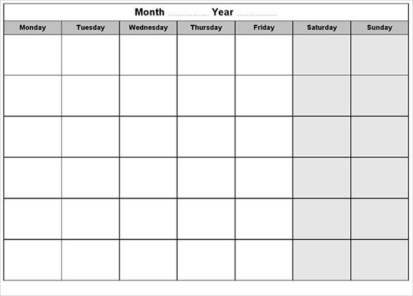 585x419 Blank Calendar Template Free Amp Premium Templates