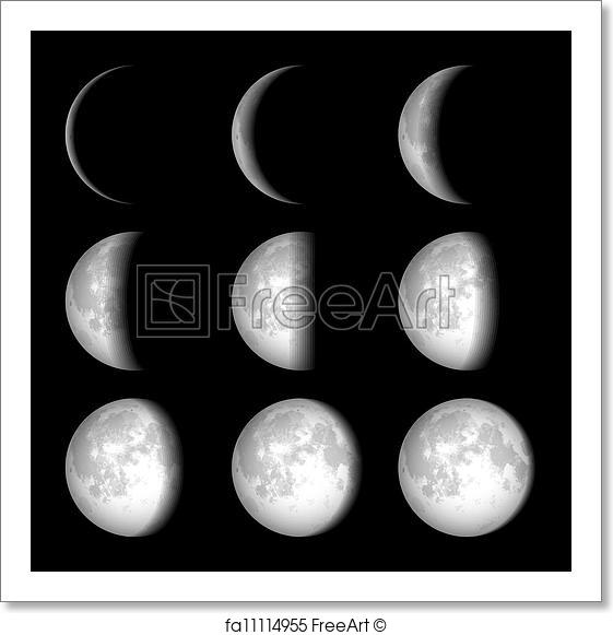 561x581 Free Art Print Of Moon Phases. Moon Phases Vector Illustration