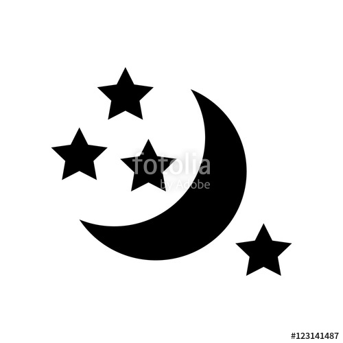 500x500 Half Moon And Stars Icon. Simple Illustration Of Moon Vector Icon
