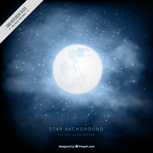 626x626 Realistic Background With Full Moon Vector Free Download