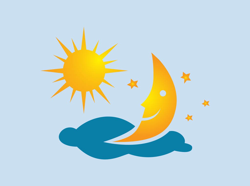 1024x765 Sun And Moon Vector Vector Art Amp Graphics