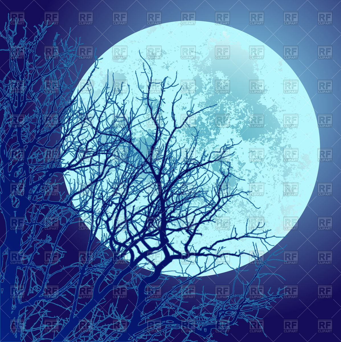 1197x1200 Tree And Full Moon Vector Image Vector Artwork Of Backgrounds