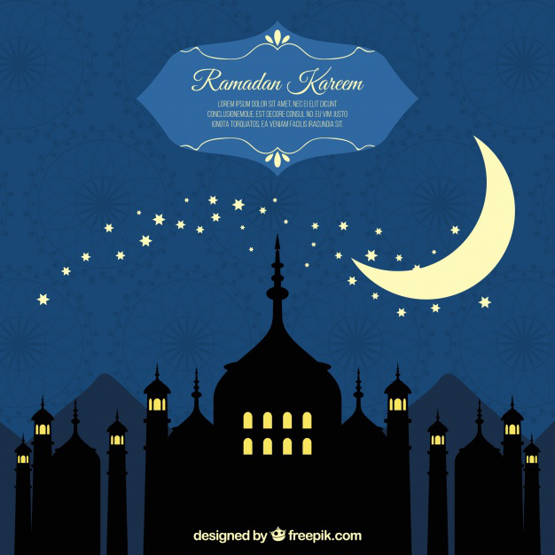 626x626 Background Of Ramadan Silhouettes With Moon Vector Free