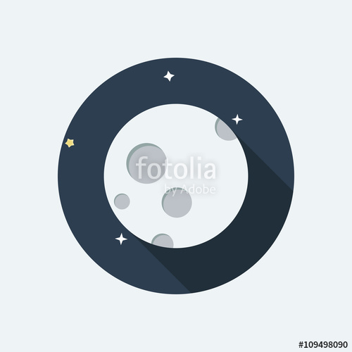 500x500 Moon Flat Design Icon. Moon Vector. Moon With Dark Night And Star