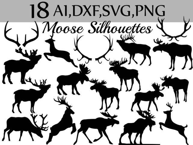 642x482 Svg Moose Clipartmoose Silhouettes Moose Etsy
