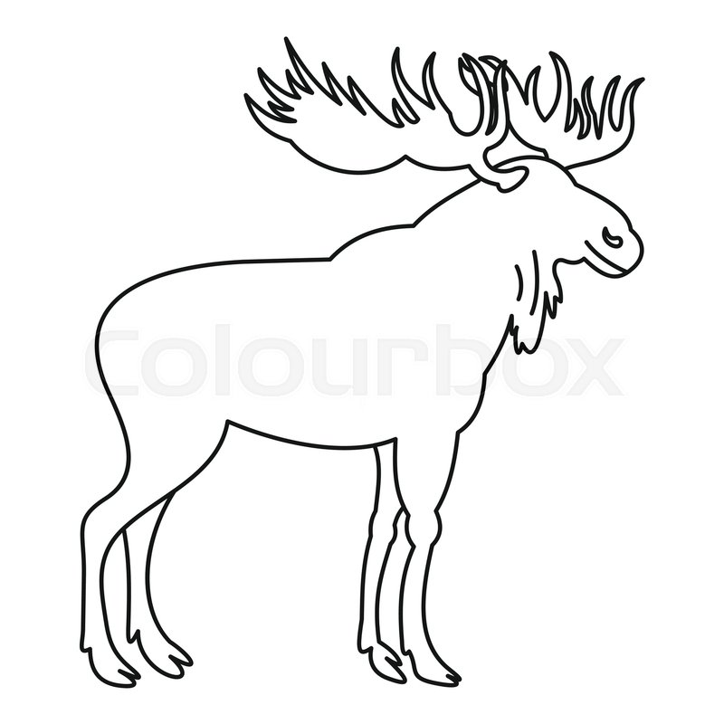 800x800 Moose Icon. Outline Illustration Of Moose Vector Icon For Web