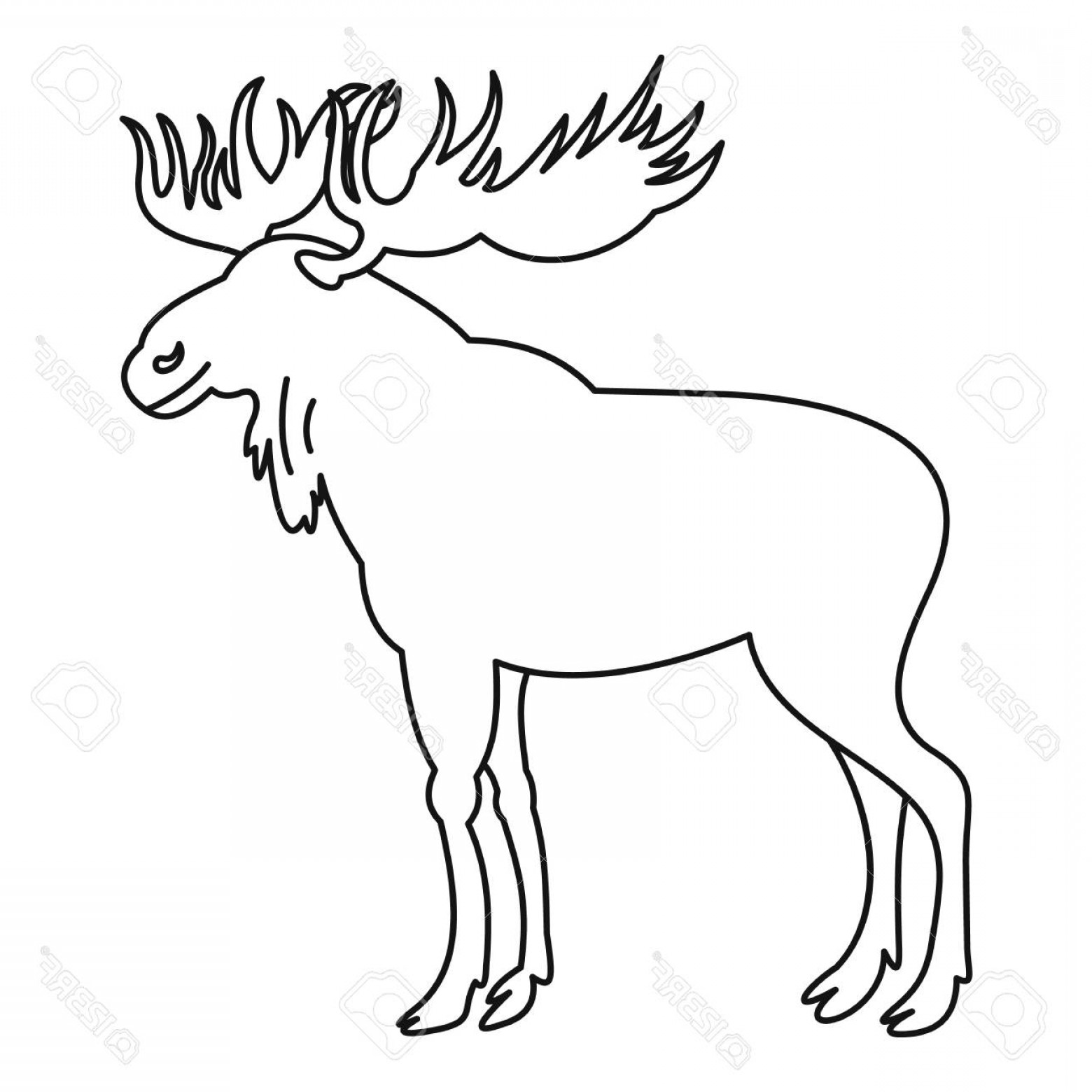 1560x1560 Photostock Vector Moose Icon Outline Illustration Of Moose Vector