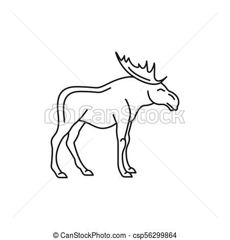 450x470 Moose Icon, Outline Style. Moose Icon. Outline Moose Vector Icon