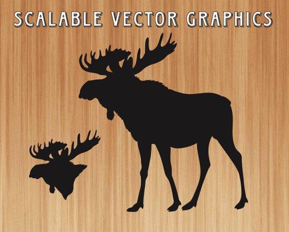 570x457 Moose Svg Moose Silhouette Cut File Moose Vector Art Moose Etsy