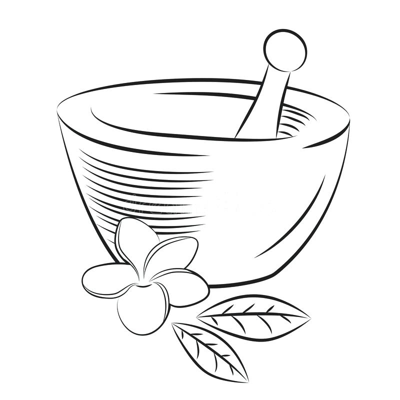 800x800 Mortar Coloring Download And Pestle With Flower Graphic Style