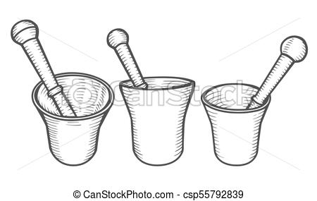 450x285 Set Of Mortar And Pestle. Hand Drawn Engraving Vintage Vector