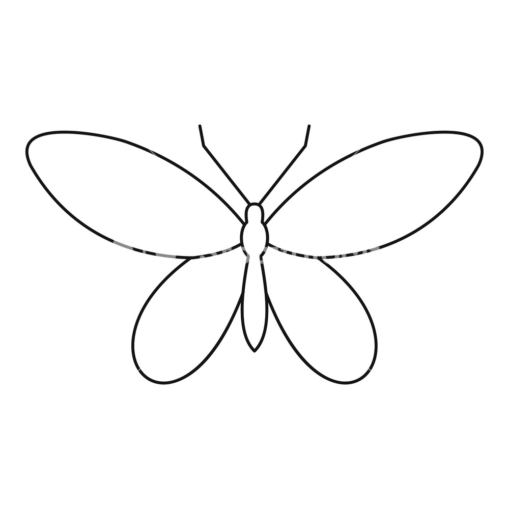 1000x1000 Moth Icon. Outline Illustration Of Moth Vector Icon For Web