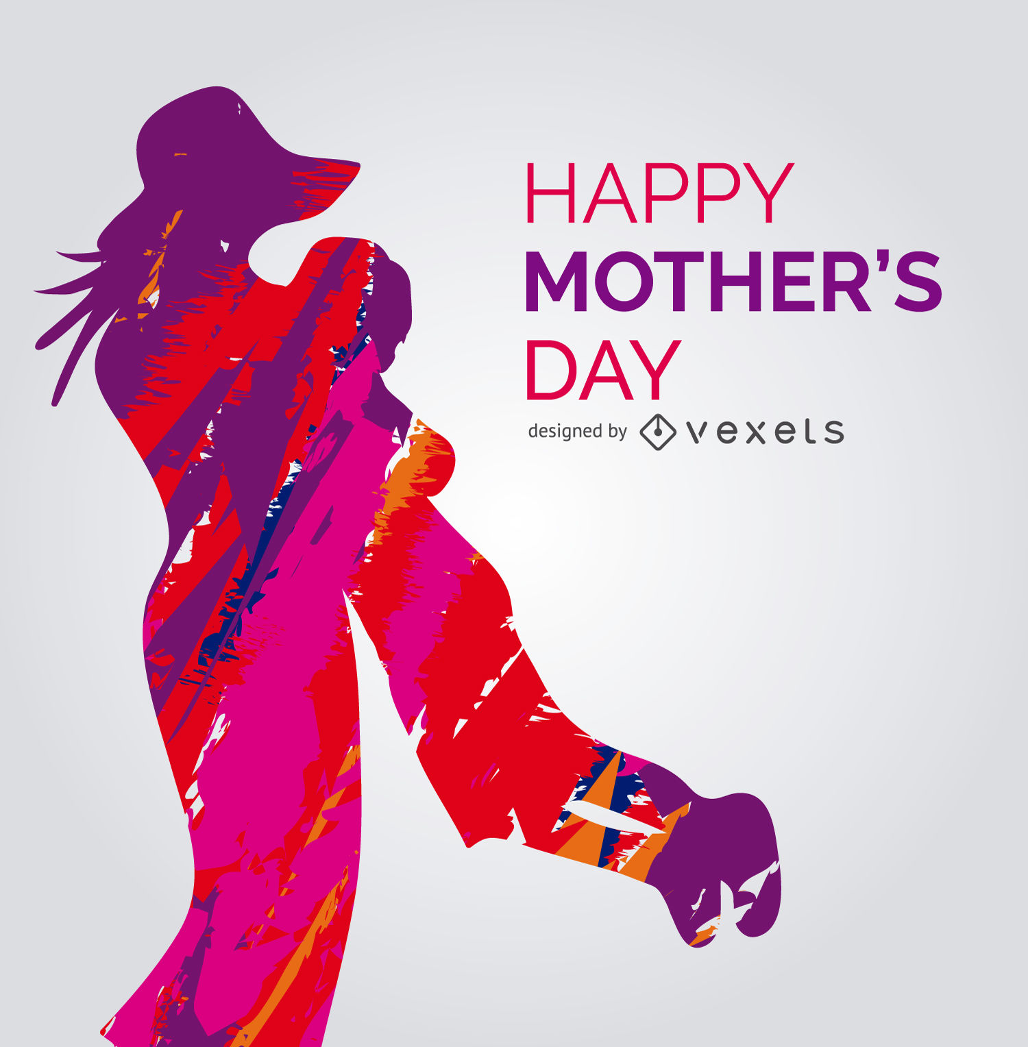 1500x1528 Vibrant Mother And Child Vector With Message