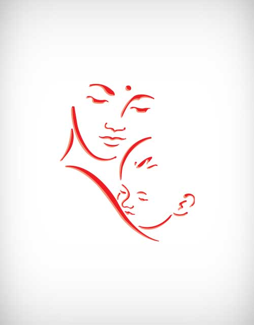 500x639 Mother With Child Vector