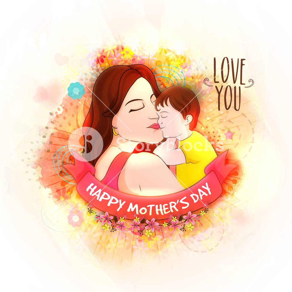 1000x1000 Illustration Of Young Mother With Her Son On Flowers Decorated