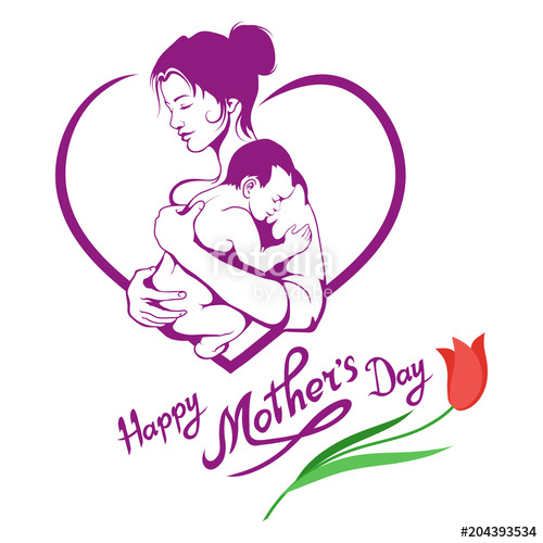 500x500 Mothers Day. Hand Drawn Mother With Baby. Lettering Fo Mothers Day