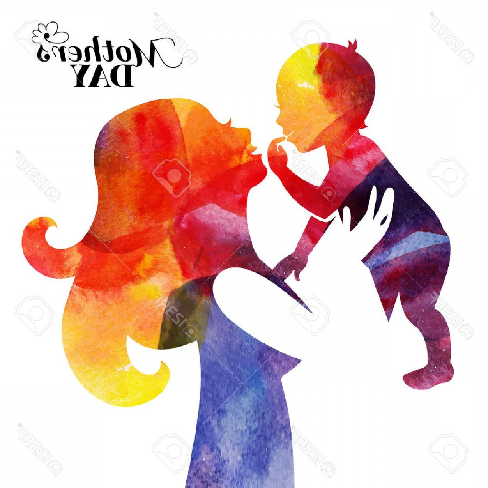 1560x1560 Photostock Vector Watercolor Mother Silhouette With Her Baby Card