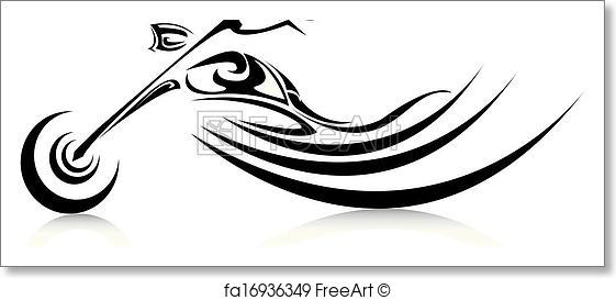 561x273 Free Art Print Of Vector Silhouette Of Classic Motorcycle. Moto